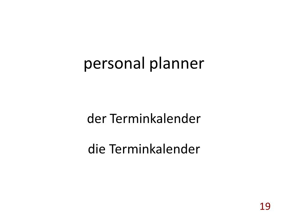 personal planner der Terminkalender die Terminkalender 19
