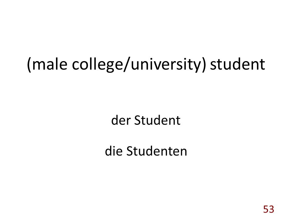 (male college/university) student der Student die Studenten 53