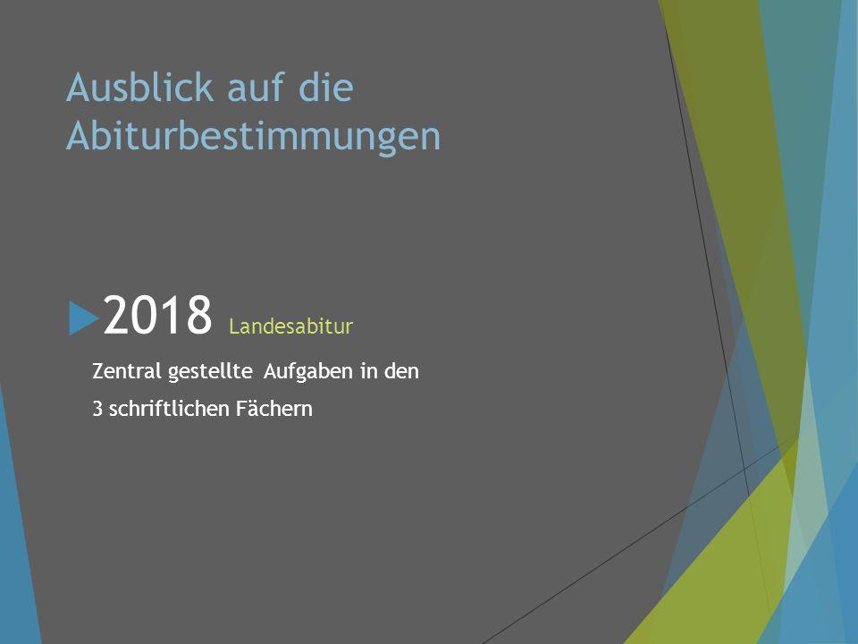 Ausblick auf die Abiturbestimmungen  2018 Landesabitur Zentral gestellte Aufgaben in den 3 schriftlichen Fächern