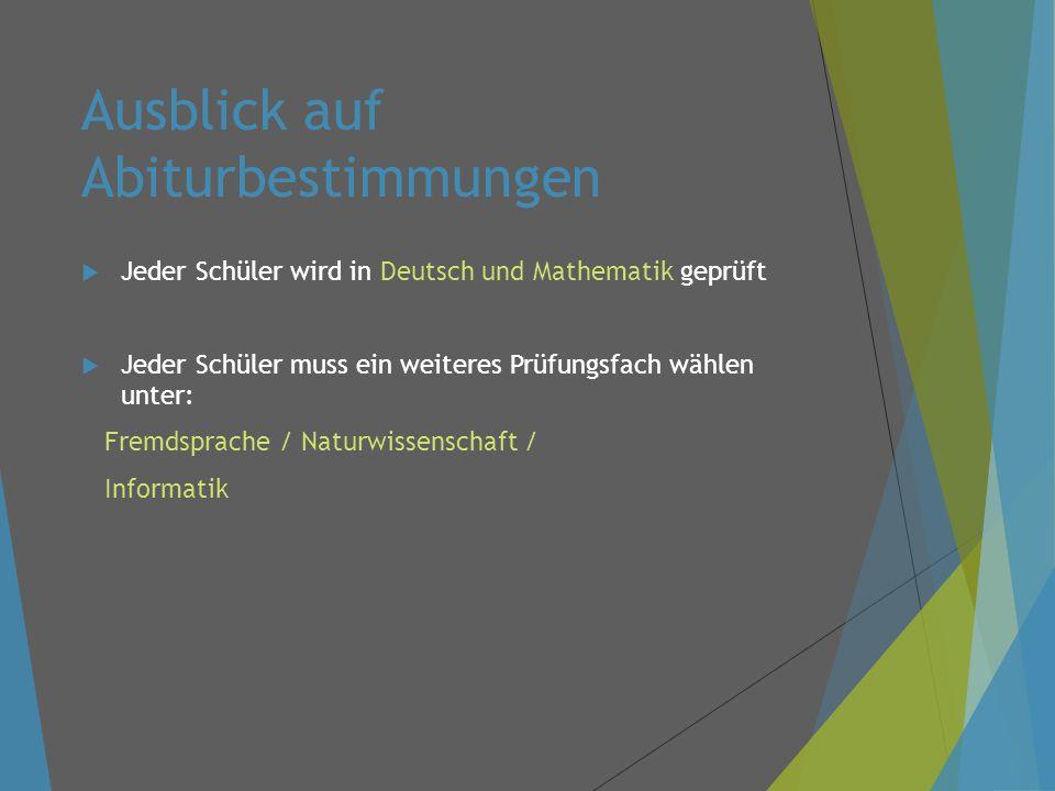 Ausblick auf Abiturbestimmungen  Jeder Schüler wird in Deutsch und Mathematik geprüft  Jeder Schüler muss ein weiteres Prüfungsfach wählen unter: Fremdsprache / Naturwissenschaft / Informatik