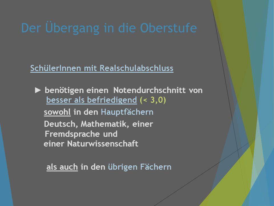 Der Übergang in die Oberstufe SchülerInnen mit Realschulabschluss ► benötigen einen Notendurchschnitt von besser als befriedigend (< 3,0) sowohl in den Hauptfächern Deutsch, Mathematik, einer Fremdsprache und einer Naturwissenschaft als auch in den übrigen Fächern