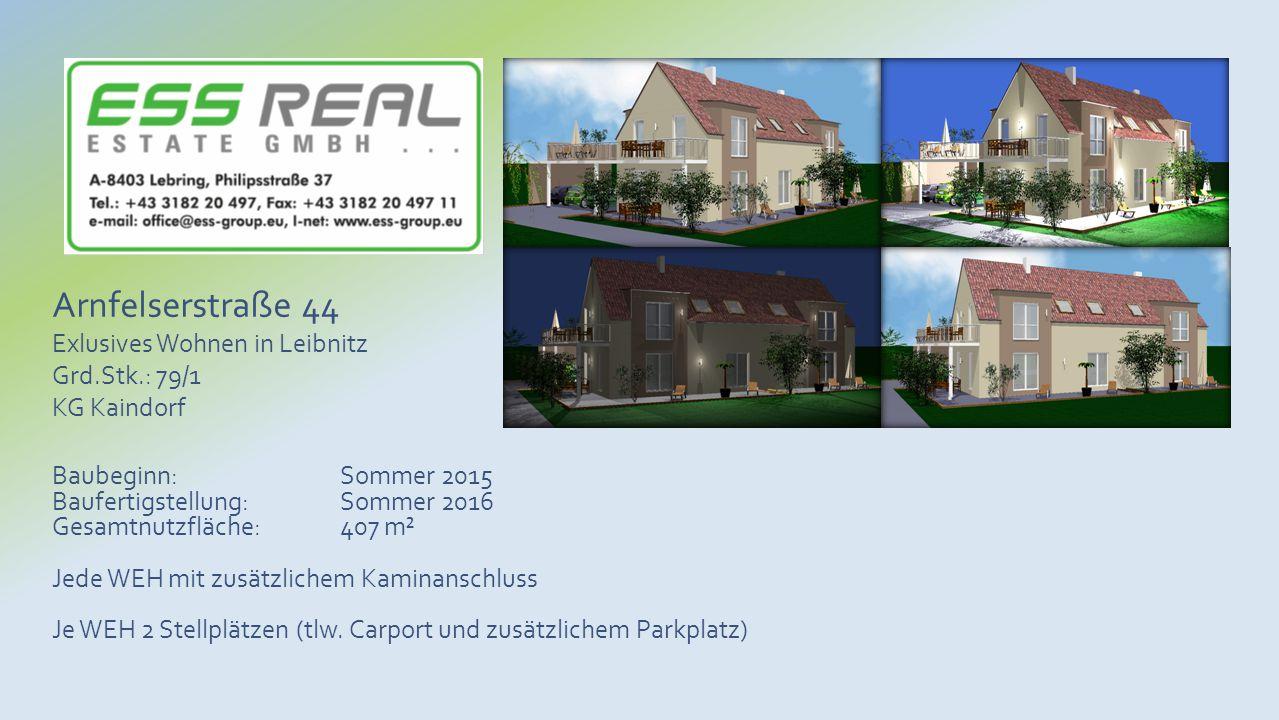 Baubeginn: Sommer 2015 Baufertigstellung: Sommer 2016 Gesamtnutzfläche: 407 m² Jede WEH mit zusätzlichem Kaminanschluss Je WEH 2 Stellplätzen (tlw. Ca