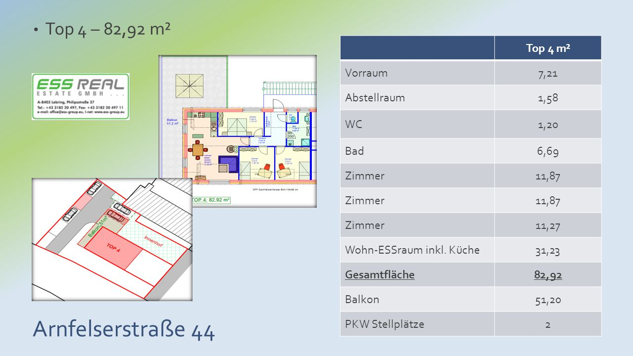 Arnfelserstraße 44 Top 4 – 82,92 m² Top 4 m² Vorraum7,21 Abstellraum1,58 WC1,20 Bad6,69 Zimmer11,87 Zimmer11,87 Zimmer11,27 Wohn-ESSraum inkl. Küche31