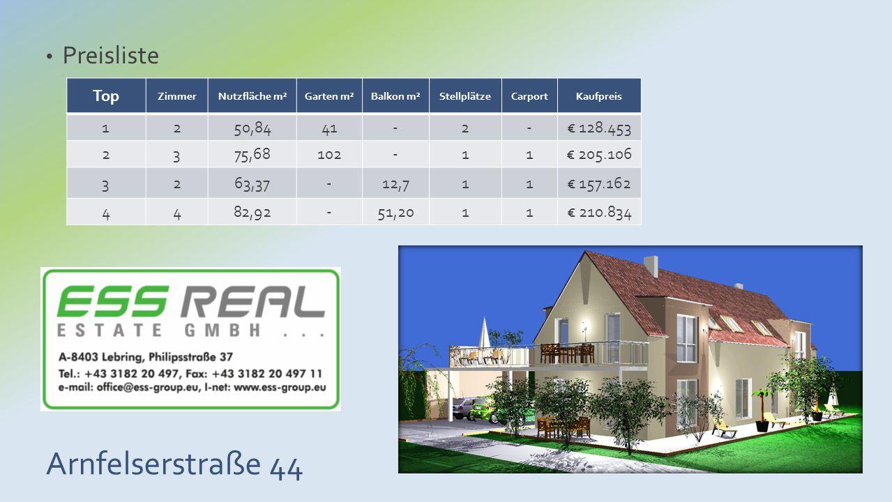 Arnfelserstraße 44 Preisliste Top ZimmerNutzfläche m²Garten m²Balkon m²StellplätzeCarportKaufpreis 1250,8441-2-€ 128.453 2375,68102-11€ 205.106 3263,3