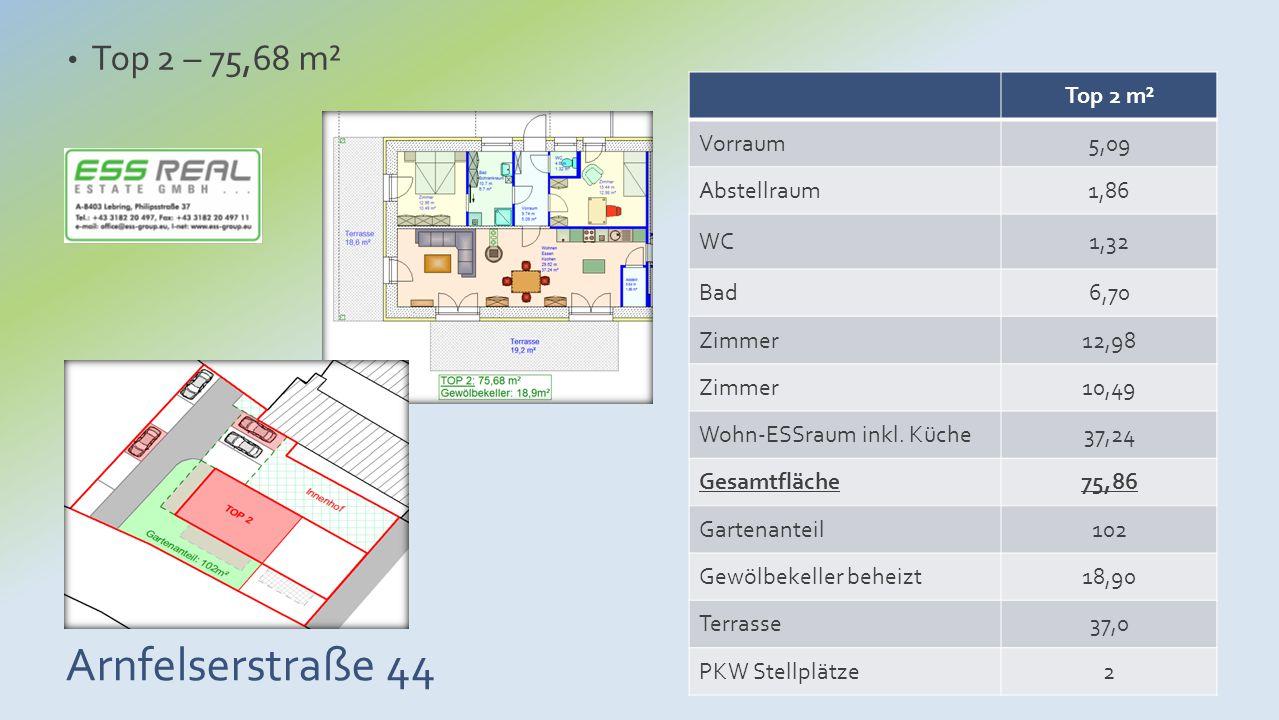 Arnfelserstraße 44 Top 2 – 75,68 m² Top 2 m² Vorraum5,09 Abstellraum1,86 WC1,32 Bad6,70 Zimmer12,98 Zimmer10,49 Wohn-ESSraum inkl. Küche37,24 Gesamtfl