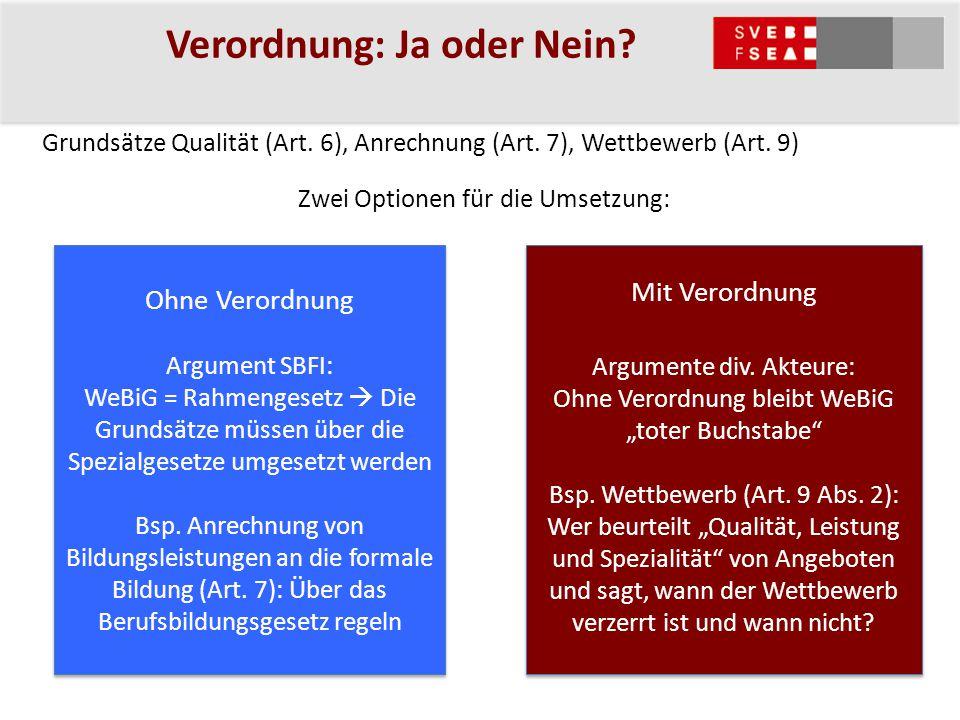 Verordnung: Ja oder Nein? Grundsätze Qualität (Art. 6), Anrechnung (Art. 7), Wettbewerb (Art. 9) Zwei Optionen für die Umsetzung: Mit Verordnung Argum