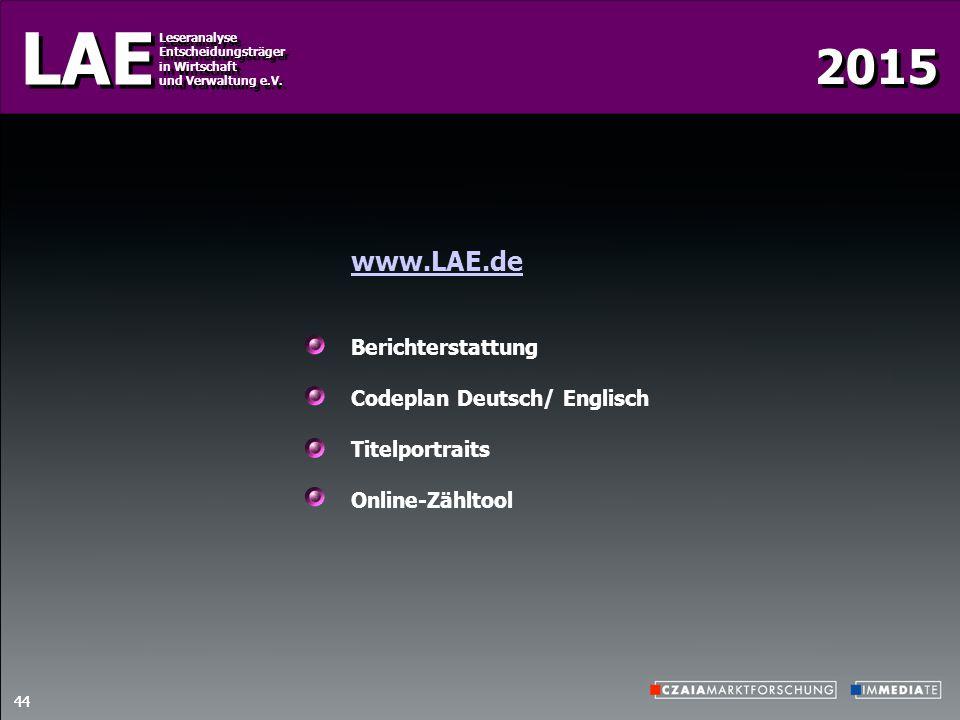 2015 LAE Leseranalyse Entscheidungsträger in Wirtschaft und Verwaltung e.V. Leseranalyse Entscheidungsträger in Wirtschaft und Verwaltung e.V. 44 www.