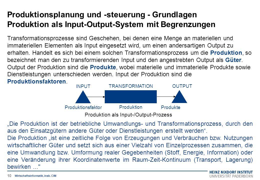 Produktionsplanung und -steuerung - Grundlagen Produktion als Input-Output-System mit Begrenzungen Wirtschaftsinformatik, insb. CIM Transformationspro