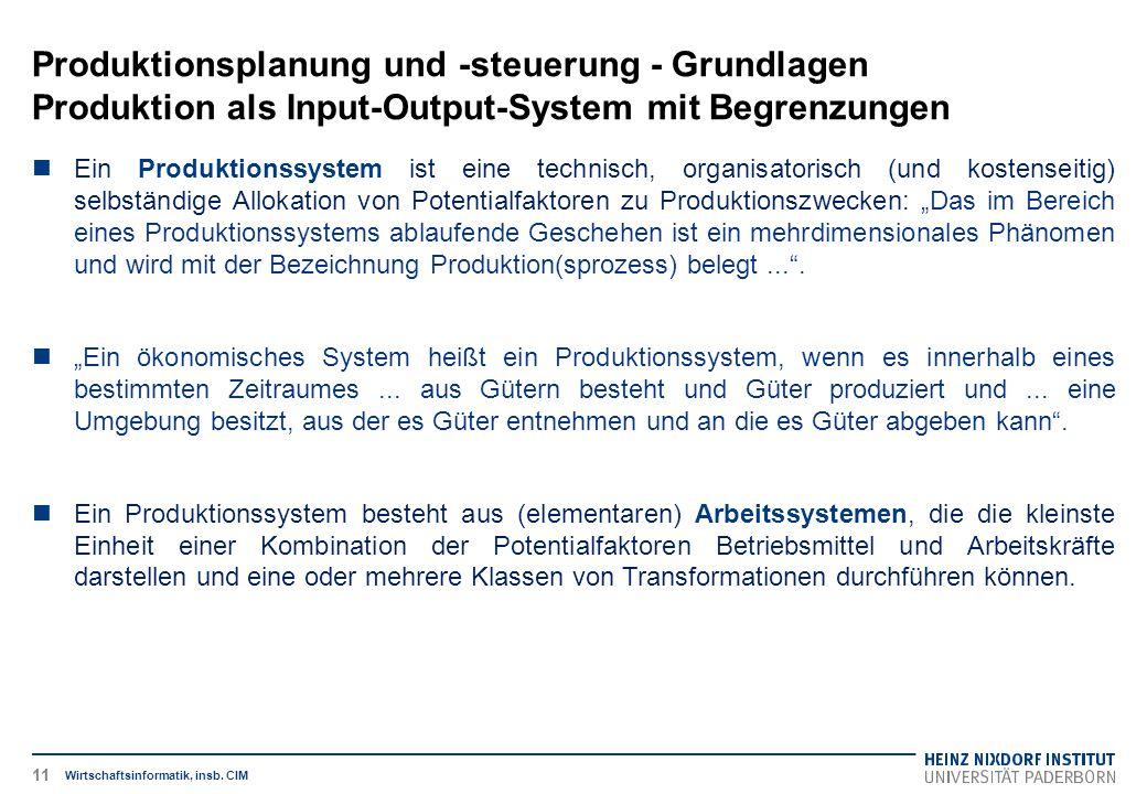 Produktionsplanung und -steuerung - Grundlagen Produktion als Input-Output-System mit Begrenzungen Wirtschaftsinformatik, insb. CIM Ein Produktionssys