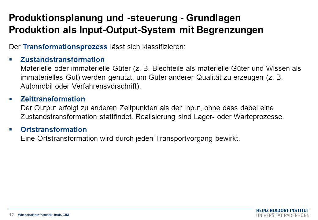 Produktionsplanung und -steuerung - Grundlagen Produktion als Input-Output-System mit Begrenzungen Wirtschaftsinformatik, insb. CIM Der Transformation