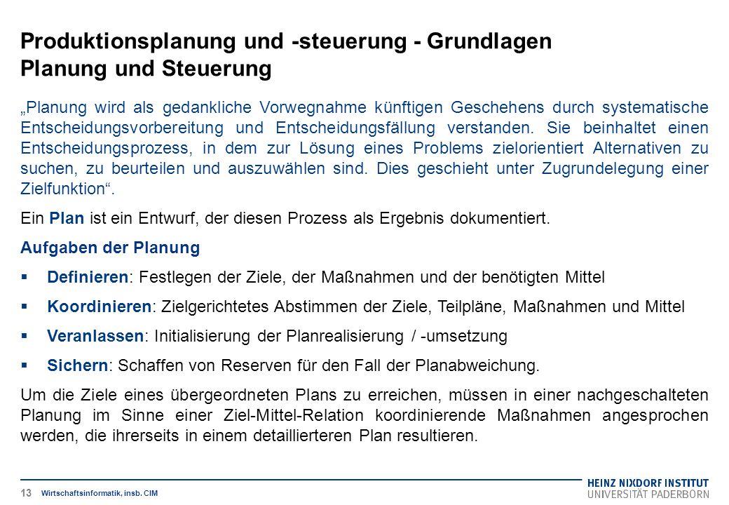 """Produktionsplanung und -steuerung - Grundlagen Planung und Steuerung Wirtschaftsinformatik, insb. CIM """"Planung wird als gedankliche Vorwegnahme künfti"""
