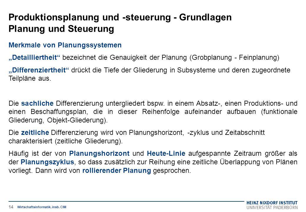 """Produktionsplanung und -steuerung - Grundlagen Planung und Steuerung Wirtschaftsinformatik, insb. CIM Merkmale von Planungssystemen """"Detailliertheit"""""""