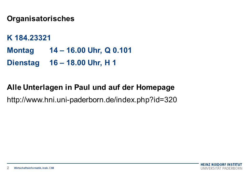 Organisatorisches Wirtschaftsinformatik, insb. CIM K 184.23321 Montag14 – 16.00 Uhr, Q 0.101 Dienstag16 – 18.00 Uhr, H 1 Alle Unterlagen in Paul und a