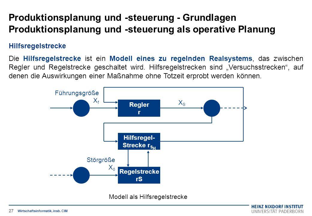 Produktionsplanung und -steuerung - Grundlagen Produktionsplanung und -steuerung als operative Planung Wirtschaftsinformatik, insb. CIM Hilfsregelstre