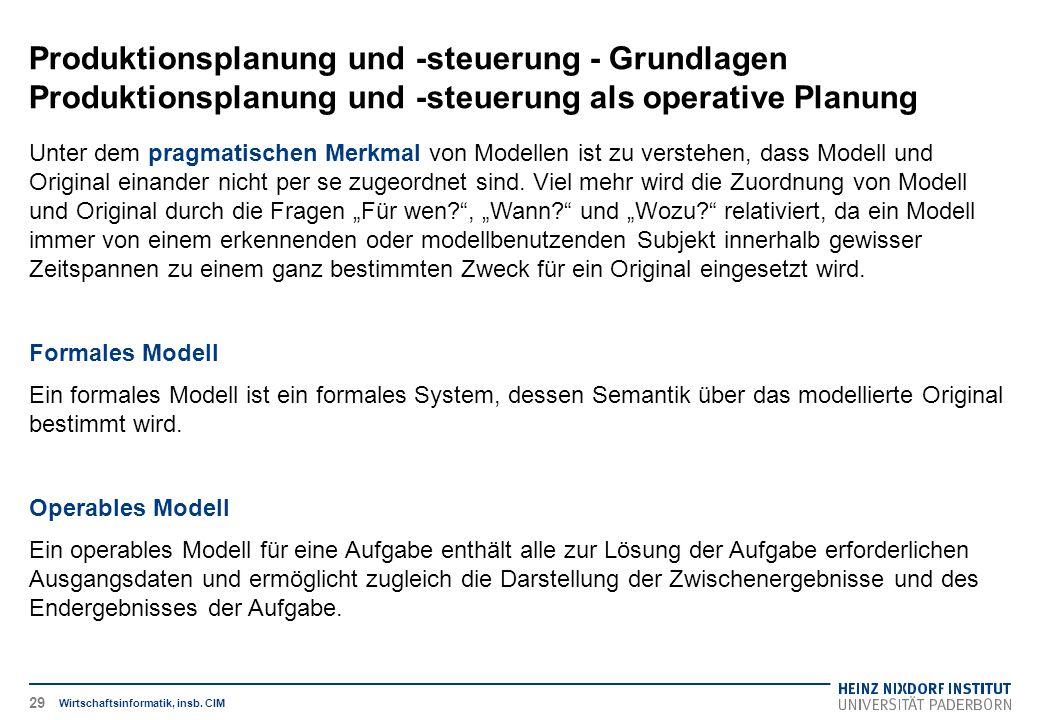 Produktionsplanung und -steuerung - Grundlagen Produktionsplanung und -steuerung als operative Planung Wirtschaftsinformatik, insb. CIM Unter dem prag