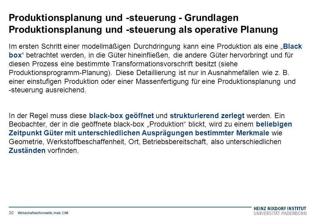 Produktionsplanung und -steuerung - Grundlagen Produktionsplanung und -steuerung als operative Planung Wirtschaftsinformatik, insb. CIM Im ersten Schr