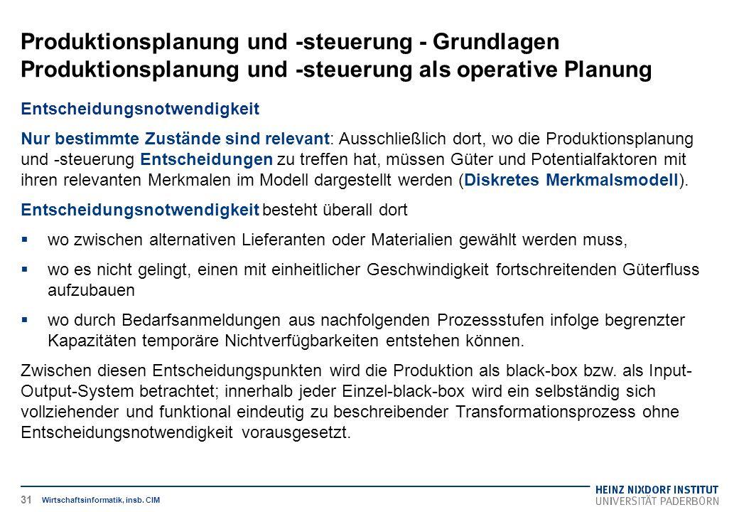 Produktionsplanung und -steuerung - Grundlagen Produktionsplanung und -steuerung als operative Planung Wirtschaftsinformatik, insb. CIM Entscheidungsn