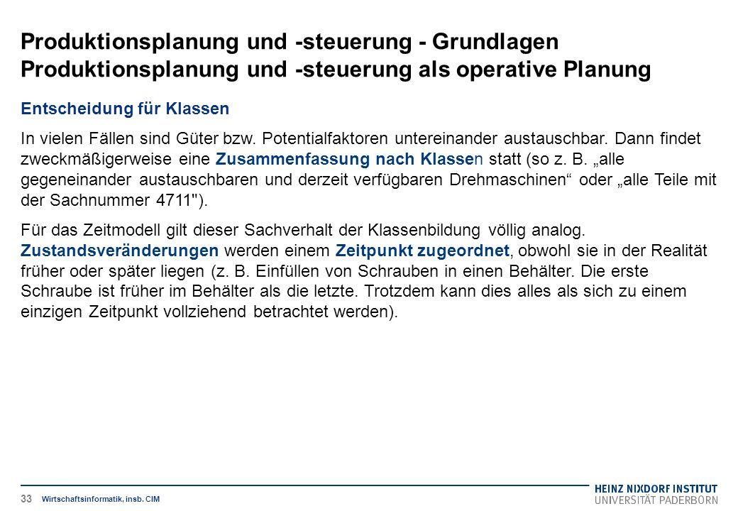 Produktionsplanung und -steuerung - Grundlagen Produktionsplanung und -steuerung als operative Planung Wirtschaftsinformatik, insb. CIM Entscheidung f