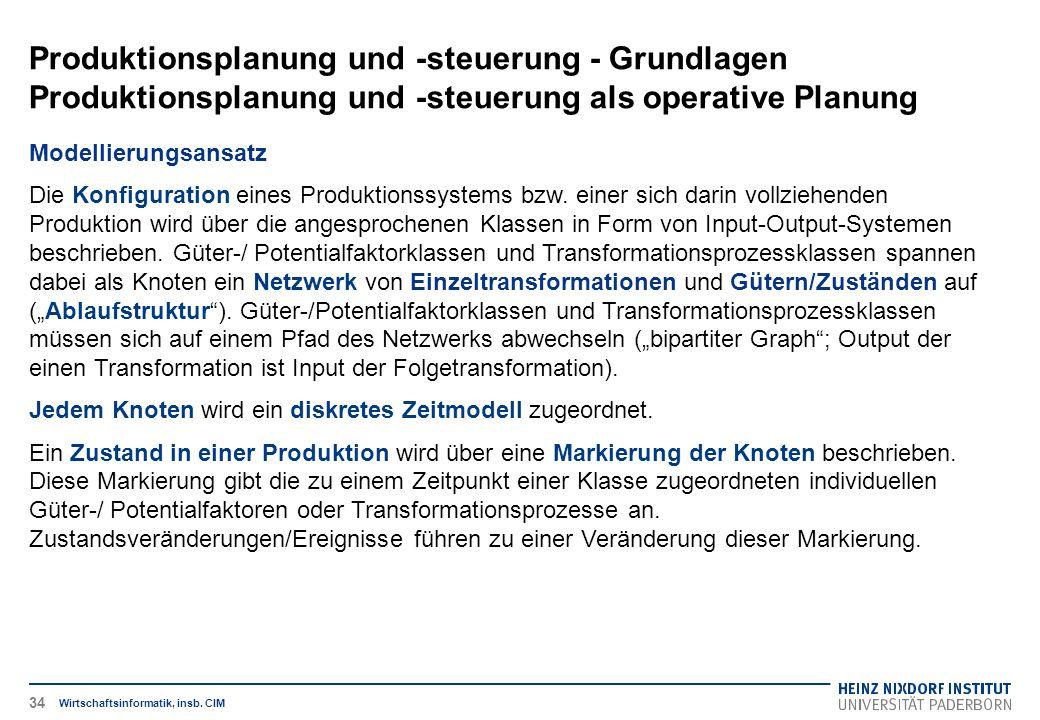 Produktionsplanung und -steuerung - Grundlagen Produktionsplanung und -steuerung als operative Planung Wirtschaftsinformatik, insb. CIM Modellierungsa