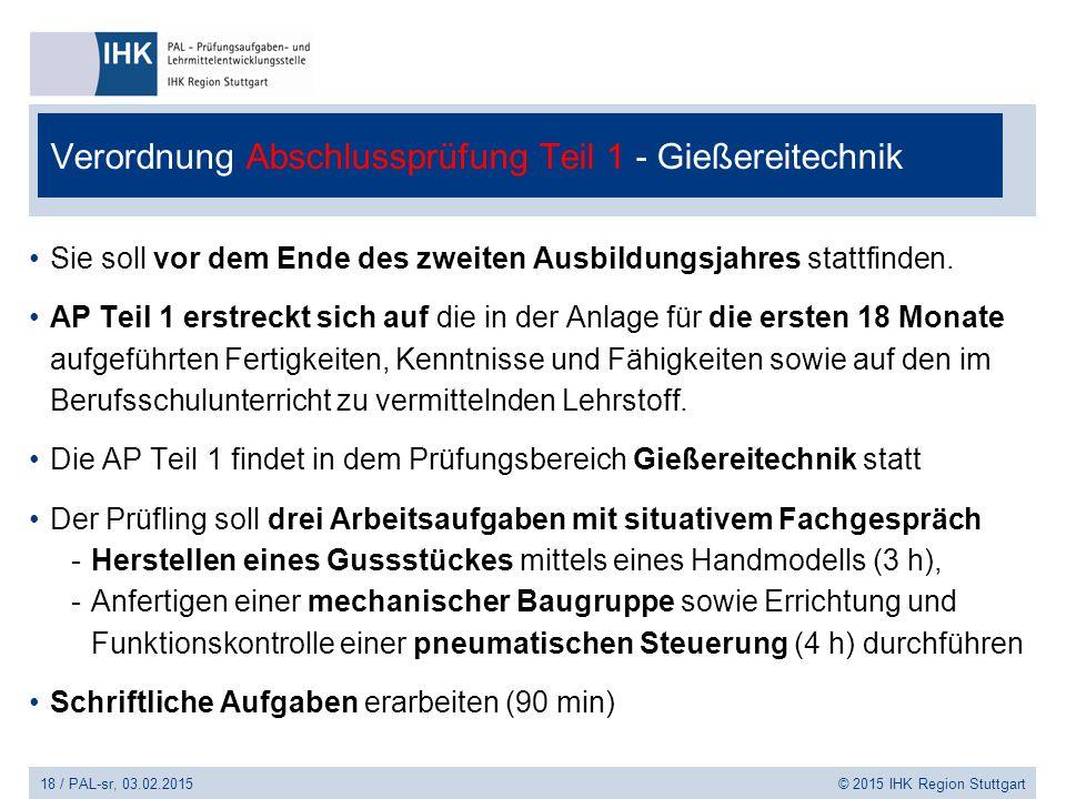 18 / PAL-sr, 03.02.2015 © 2015 IHK Region Stuttgart Verordnung Abschlussprüfung Teil 1 - Gießereitechnik Sie soll vor dem Ende des zweiten Ausbildungs
