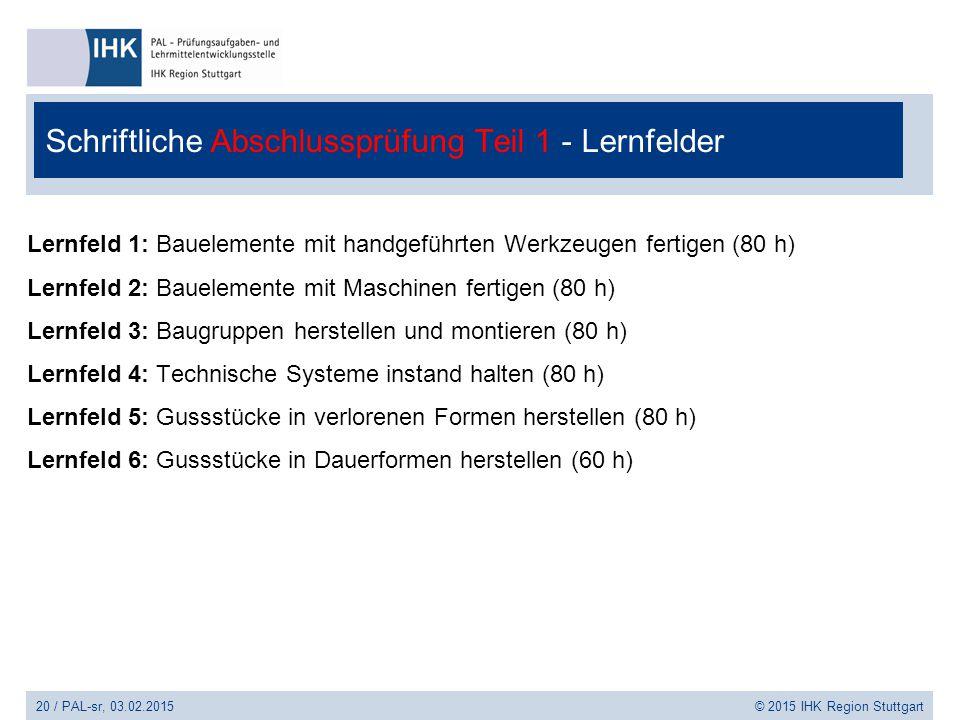 Schriftliche Abschlussprüfung Teil 1 - Lernfelder Lernfeld 1: Bauelemente mit handgeführten Werkzeugen fertigen (80 h) Lernfeld 2: Bauelemente mit Mas