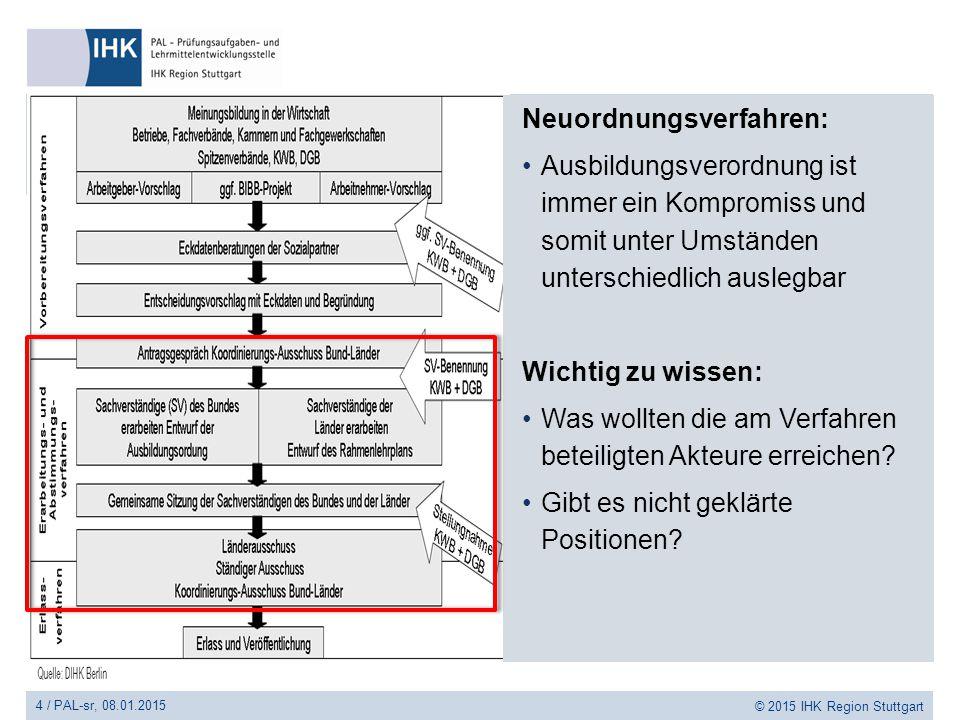 4 / PAL-sr, 08.01.2015 © 2015 IHK Region Stuttgart Neuordnungsverfahren: Ausbildungsverordnung ist immer ein Kompromiss und somit unter Umständen unte