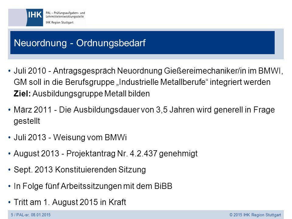 5 / PAL-sr, 08.01.2015 © 2015 IHK Region Stuttgart Neuordnung - Ordnungsbedarf Juli 2010 - Antragsgespräch Neuordnung Gießereimechaniker/in im BMWI, G