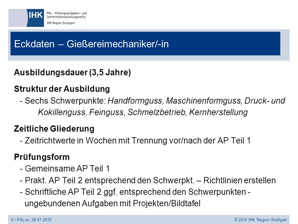 6 / PAL-sr, 08.01.2015 © 2015 IHK Region Stuttgart Eckdaten – Gießereimechaniker/-in Ausbildungsdauer (3,5 Jahre) Struktur der Ausbildung - Sechs Schw