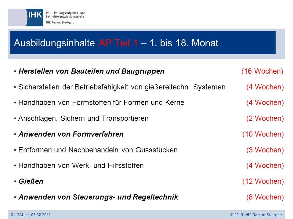 9 / PAL-sr, 03.02.2015 © 2015 IHK Region Stuttgart Ausbildungsinhalte AP Teil 2 – 18.