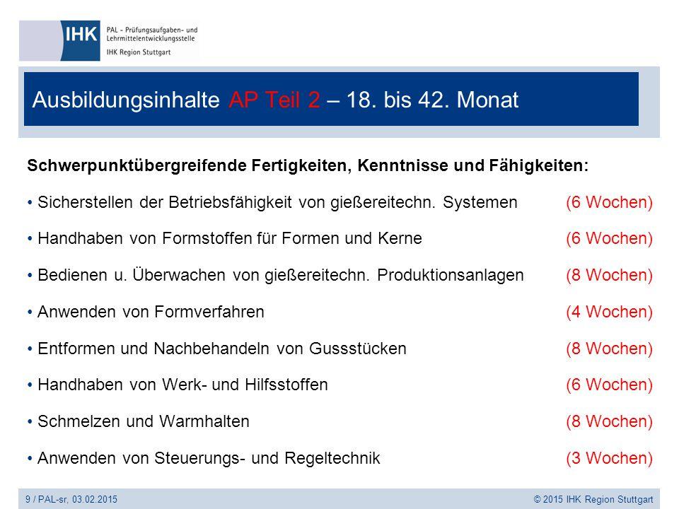 9 / PAL-sr, 03.02.2015 © 2015 IHK Region Stuttgart Ausbildungsinhalte AP Teil 2 – 18. bis 42. Monat Schwerpunktübergreifende Fertigkeiten, Kenntnisse