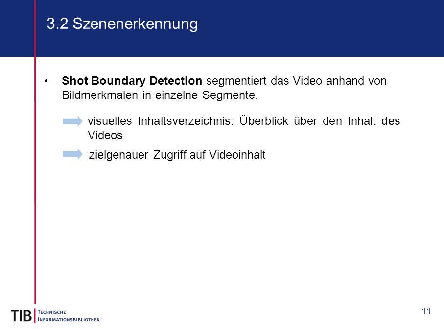 11 3.2 Szenenerkennung visuelles Inhaltsverzeichnis: Überblick über den Inhalt des Videos Shot Boundary Detection segmentiert das Video anhand von Bil