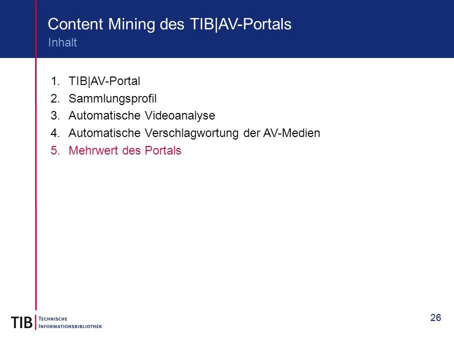 26 Content Mining des TIB|AV-Portals 1.TIB|AV-Portal 2.Sammlungsprofil 3.Automatische Videoanalyse 4.Automatische Verschlagwortung der AV-Medien 5.Meh