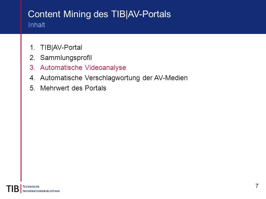 77 Content Mining des TIB|AV-Portals 1.TIB|AV-Portal 2.Sammlungsprofil 3.Automatische Videoanalyse 4.Automatische Verschlagwortung der AV-Medien 5.Meh