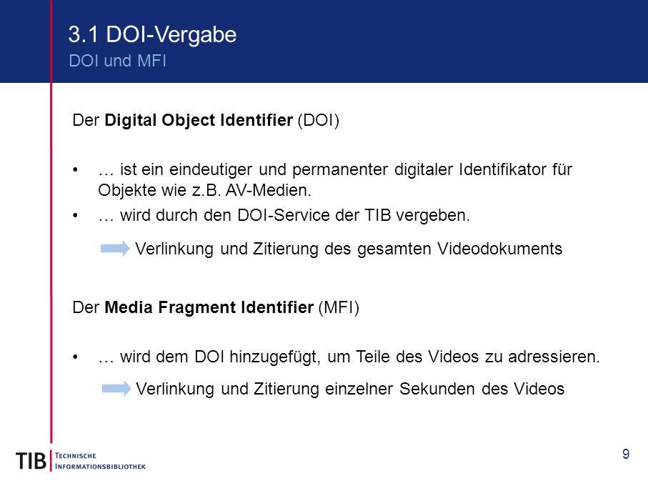 9 3.1 DOI-Vergabe DOI und MFI Der Digital Object Identifier (DOI) … ist ein eindeutiger und permanenter digitaler Identifikator für Objekte wie z.B. A
