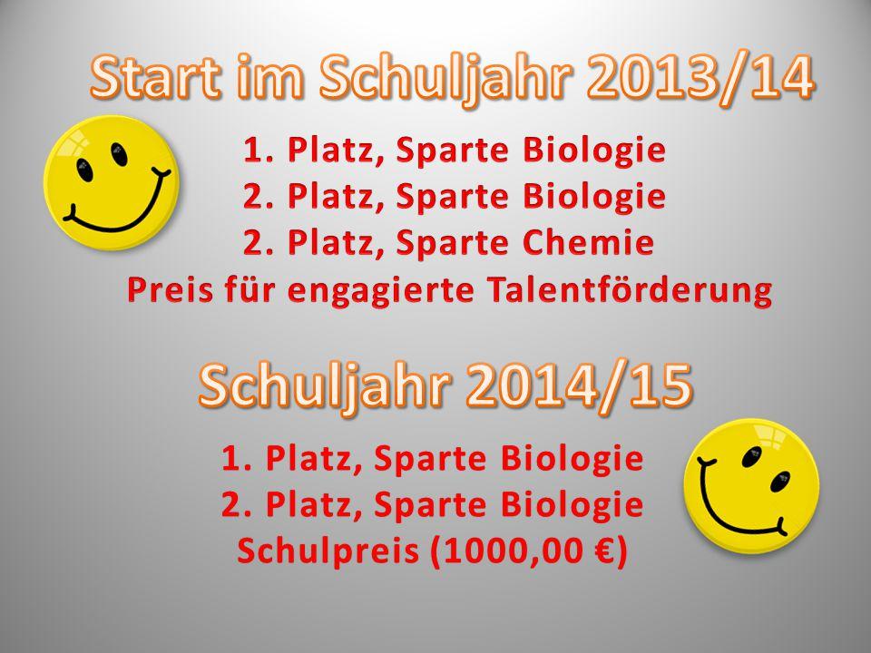 1. Platz, Sparte Biologie1. Platz, Sparte Biologie 2.