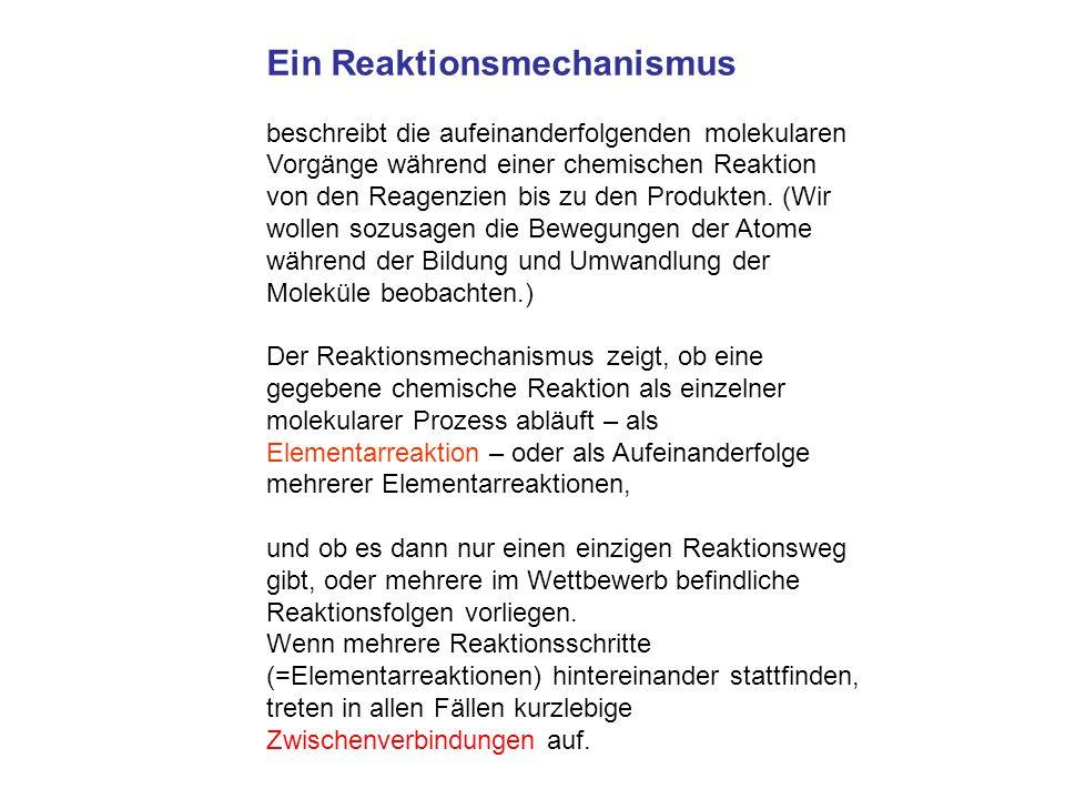 Ein Reaktionsmechanismus beschreibt die aufeinanderfolgenden molekularen Vorgänge während einer chemischen Reaktion von den Reagenzien bis zu den Prod
