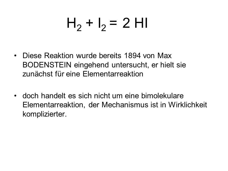 H 2 + I 2 = 2 HI Diese Reaktion wurde bereits 1894 von Max BODENSTEIN eingehend untersucht, er hielt sie zunächst für eine Elementarreaktion doch handelt es sich nicht um eine bimolekulare Elementarreaktion, der Mechanismus ist in Wirklichkeit komplizierter.