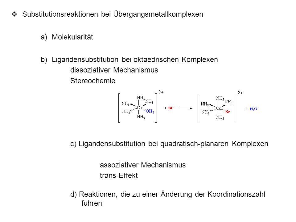  Substitutionsreaktionen bei Übergangsmetallkomplexen a)Molekularität b)Ligandensubstitution bei oktaedrischen Komplexen dissoziativer Mechanismus St