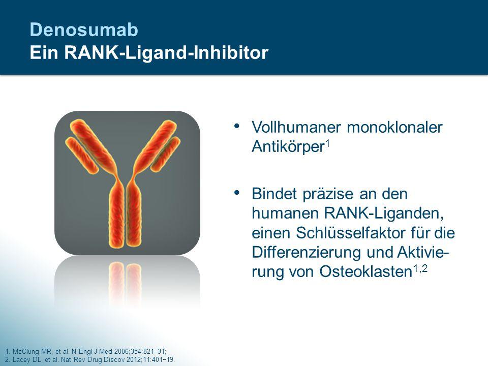 Denosumab Ein RANK-Ligand-Inhibitor Vollhumaner monoklonaler Antikörper 1 Bindet präzise an den humanen RANK-Liganden, einen Schlüsselfaktor für die D