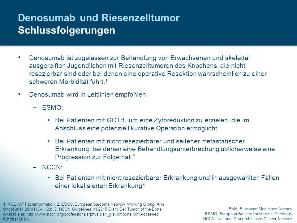 Denosumab ist zugelassen zur Behandlung von Erwachsenen und skelettal ausgereiften Jugendlichen mit Riesenzelltumoren des Knochens, die nicht resezier