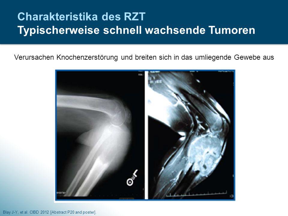 Charakteristika des RZT Typischerweise schnell wachsende Tumoren Blay J-Y, et al. CIBD 2012 [Abstract P20 and poster]. Verursachen Knochenzerstörung u