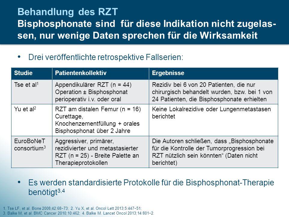 Drei veröffentlichte retrospektive Fallserien: Es werden standardisierte Protokolle für die Bisphosphonat-Therapie benötigt 3,4 Behandlung des RZT Bis