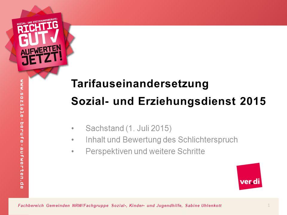 Fachbereich Gemeinden NRW/Fachgruppe Sozial-, Kinder- und Jugendhilfe, Sabine Uhlenkott Tarifauseinandersetzung Sozial- und Erziehungsdienst 2015 Sach