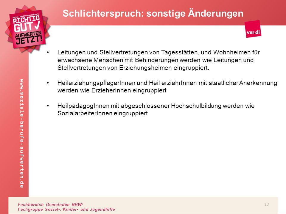 Fachbereich Gemeinden NRW/ Fachgruppe Sozial-, Kinder- und Jugendhilfe Schlichterspruch: sonstige Änderungen Leitungen und Stellvertretungen von Tages