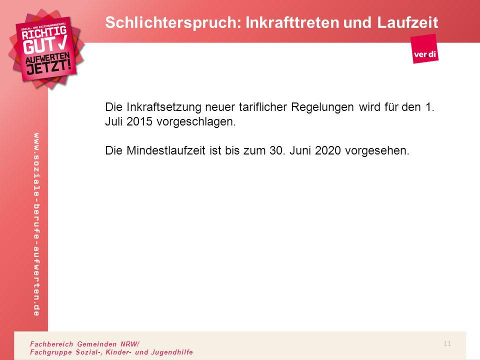 Fachbereich Gemeinden NRW/ Fachgruppe Sozial-, Kinder- und Jugendhilfe Schlichterspruch: Inkrafttreten und Laufzeit Die Inkraftsetzung neuer tariflich