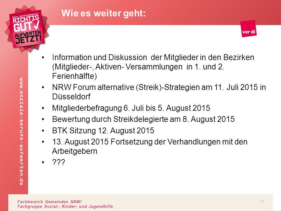 Fachbereich Gemeinden NRW/ Fachgruppe Sozial-, Kinder- und Jugendhilfe Information und Diskussion der Mitglieder in den Bezirken (Mitglieder-, Aktiven