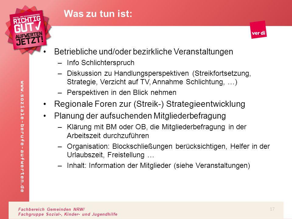 Fachbereich Gemeinden NRW/ Fachgruppe Sozial-, Kinder- und Jugendhilfe Betriebliche und/oder bezirkliche Veranstaltungen –Info Schlichterspruch –Disku
