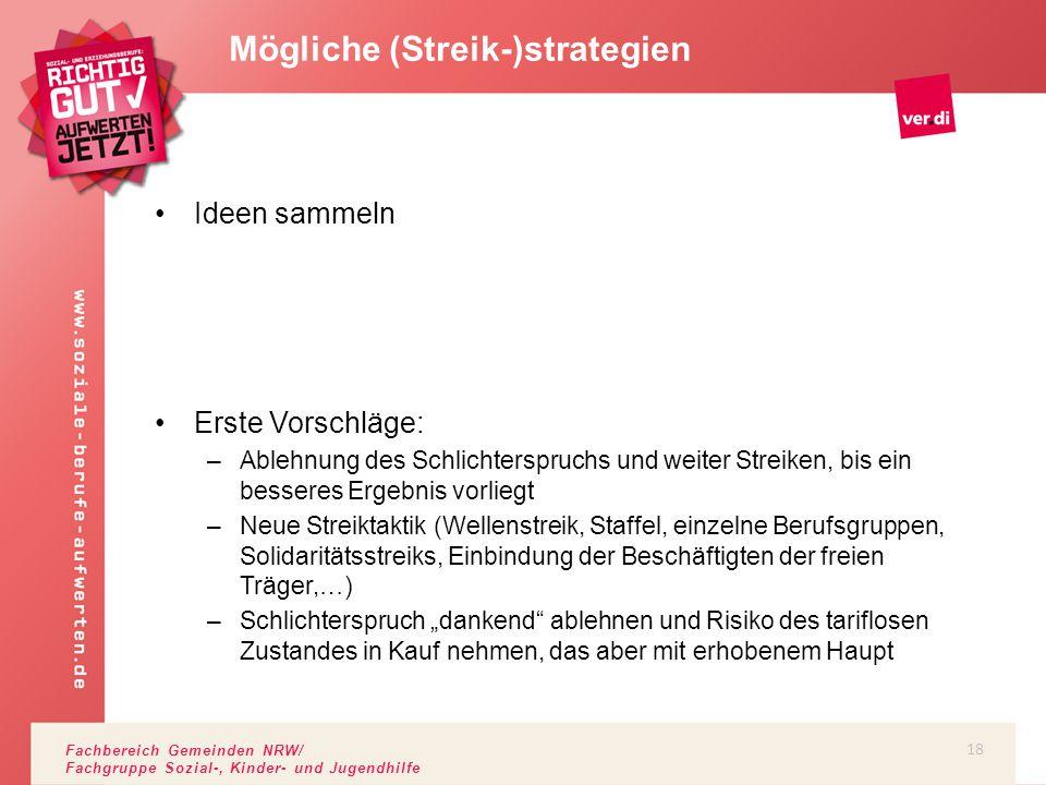 Fachbereich Gemeinden NRW/ Fachgruppe Sozial-, Kinder- und Jugendhilfe Ideen sammeln Erste Vorschläge: –Ablehnung des Schlichterspruchs und weiter Str