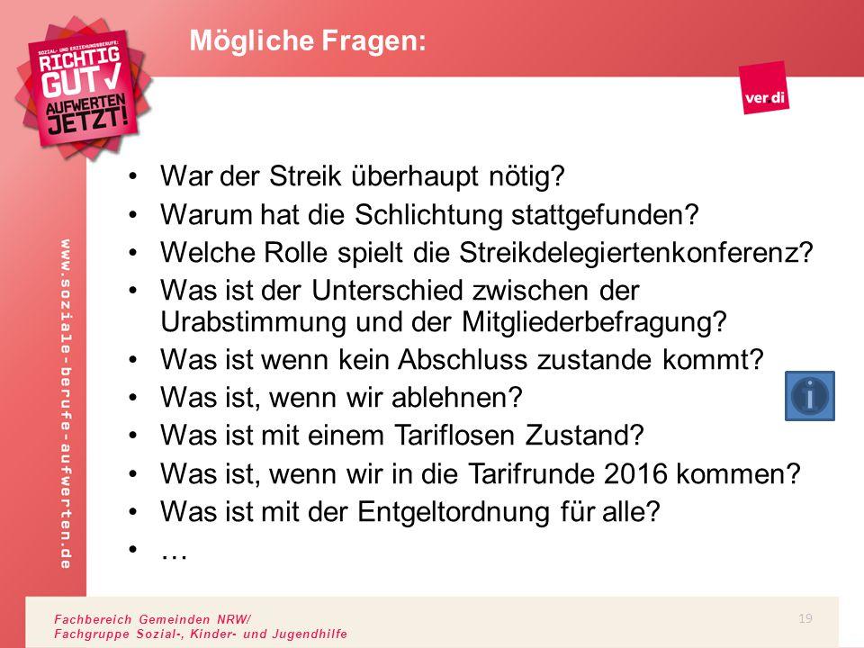 Fachbereich Gemeinden NRW/ Fachgruppe Sozial-, Kinder- und Jugendhilfe War der Streik überhaupt nötig? Warum hat die Schlichtung stattgefunden? Welche