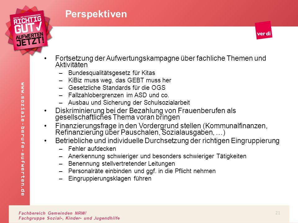 Fachbereich Gemeinden NRW/ Fachgruppe Sozial-, Kinder- und Jugendhilfe Fortsetzung der Aufwertungskampagne über fachliche Themen und Aktivitäten –Bund